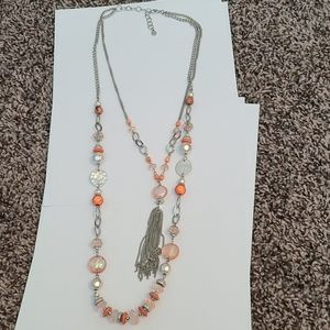 Coral and silver tassel necklace